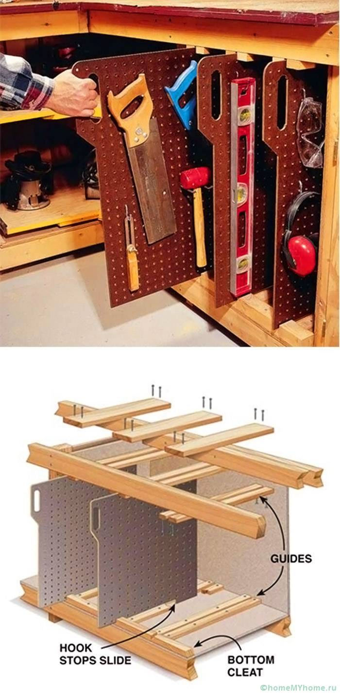 Удобни издърпващи се шкафове за съхранение на инструменти