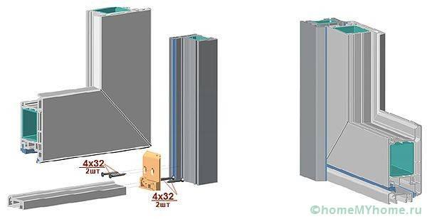 Секционен профил на пластмасовата конструкция