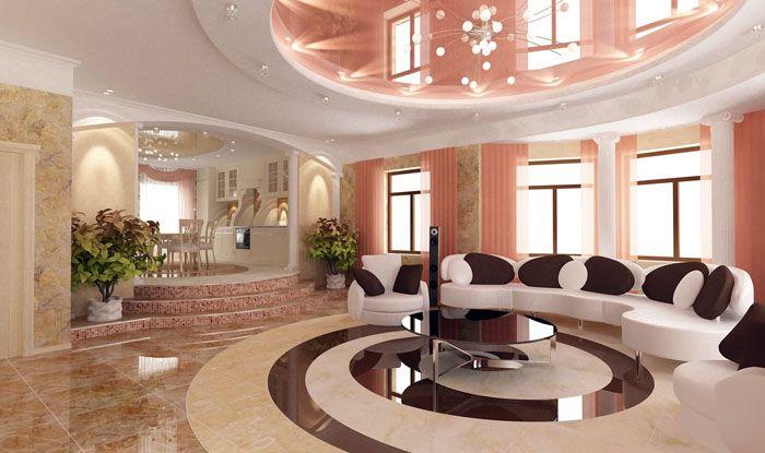 Лъскавият таван се вписва идеално в модерния