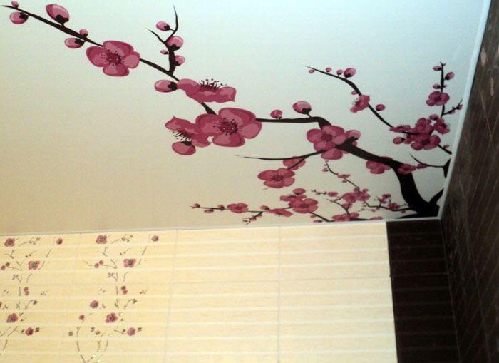 Японският стил се допълва от фотопечат на черешови цветове