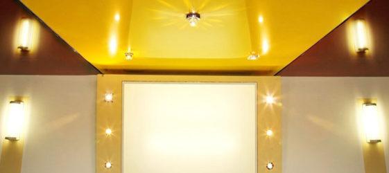 Опънати лъскави тавани: снимка в интериора,