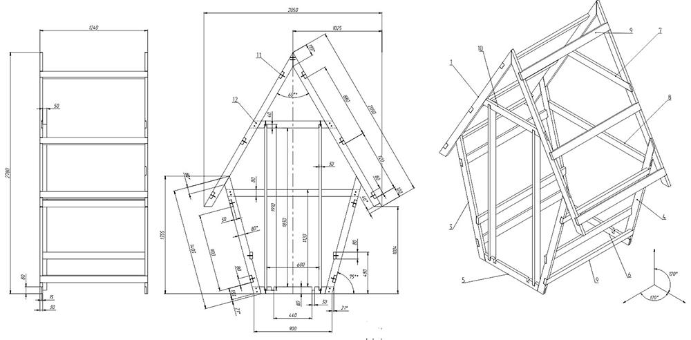 Кабина под формата на тоалетна за лятна резиденция е подходяща за малки площи