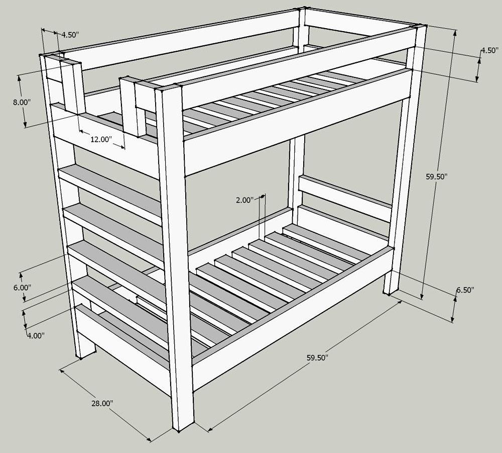 Rysunek łóżka piętrowego z wymiarami każdego otworu i ogólnymi parametrami ramy